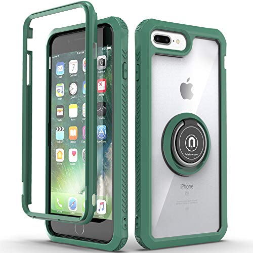 KULECase Compatible iPhone 8 Plus Case, iPhone 7 Plus Case, iPhone 6 Plus Case, 360 Degree Rotating Ring Kickstand, Clear Slim Hybrid Dual Layers Phone Cover with Magnetic Car Mount (Army Green)