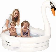 HEROTIGH Piscinas Hinchables Bebé Acolchado para Niños Piscina Infantil De Plástico Suave Personalidad Antideslizante Plegable 150 * 110 Cm Cisne Blanco Bañera Inflable Inflatable Pool Tub