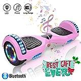 COLORWAY Hoverboard 6.5 Pulgadas con Ruedas de LED, Patinete Eléctrico con Bluetooth de 700W Auto-Equilibrio (Rosa)