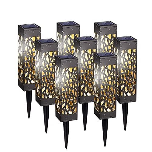 8 Pièces Lampe Solaire de Jardin, IP65 Blanc Chaud Decorative Étanche Luminaire Solaire pour Pelouse, Cour, Terrasse, Patio, Allée [Classe énergétique A++]