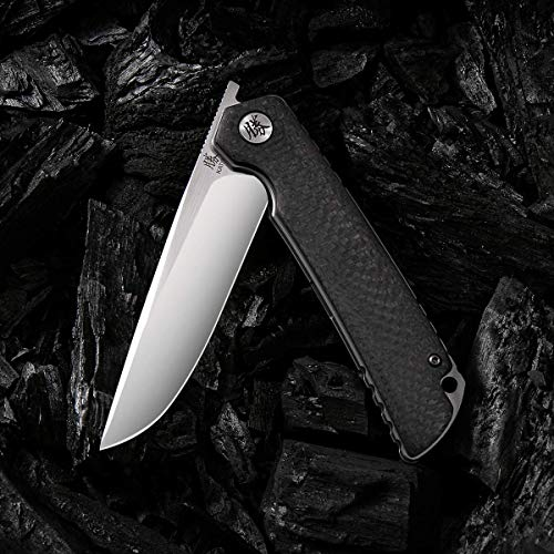 KATSU Folding Pocket Japanese Knife, Carbon Fiber Handle, EDC Knife w/CPM 154CM Steel Blade, Leather Sheath