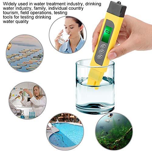 Medidor PH Exacto, 3-in-1 Medidor de la Calidad del Agua del Metro Digital de Alta Precisión con Pantalla LCD para Agua Potable Doméstica, Hidroponía, Acuarios, Piscinas