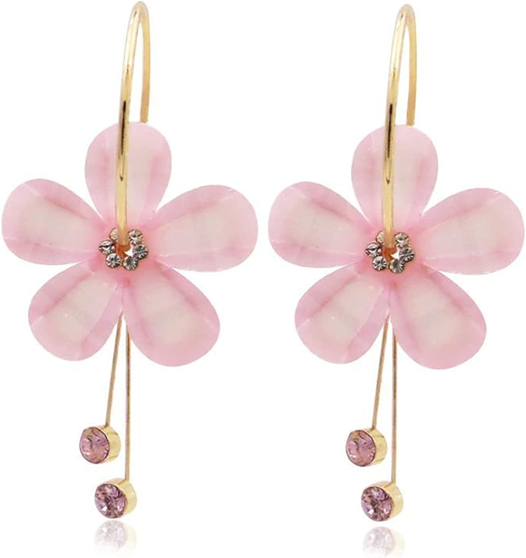 coadipress Romantic CZ Crystal Acrylic Sunflower Earrings Five Leaves Exaggerated Round Hoop Earrings Long Tassel Earring for Women Girls Jewelry Gifts