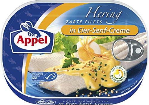 Appel Heringsfilets in Eier-Senf-Creme, 10er Pack Konserven, Fisch in Eier-Senfcreme