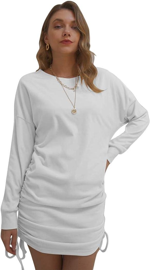rrhss Women's Fleece Long Sweatshirt Dresses Long Sleeve Round Neck Casual Pullover Pleated Bodycon Mini Dress