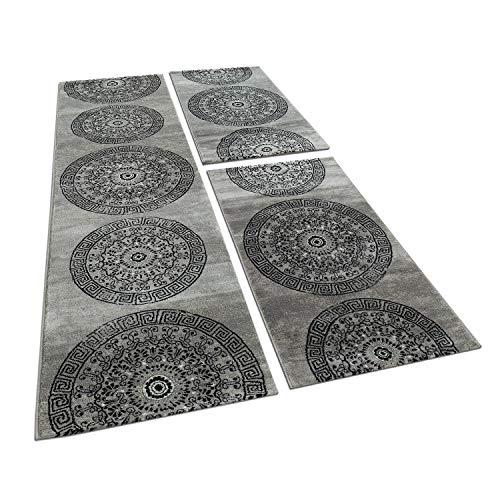 Bettumrandung 3 teilig Kreis Ornament Teppich Läufer Meliert in Grau Schwarz, Grösse:2mal 80x150 1mal 80x300
