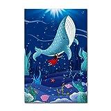 Sin marco nórdico creativo animal cartel lienzo pintura ballena azul dibujos animados sueño niño habitación jardín de infantes arte de la pared decoración de la pared arte de la lona 30x40 cm