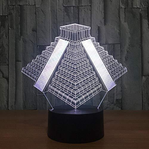 Decoración navideña con luz nocturna 3D LED en forma de pirámide México, 7 colores cambiantes, luz USB, mesita de noche, mesita de noche para dormitorio, decoración, regalo DUYAO00