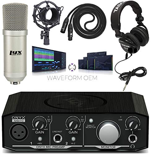 Mackie Onyx Artist 1·2 USB Audio Interface with Studio Headphones and Professional Condenser Microphone  Download of Pro Tools | First and Waveform OEM Music Creating amp Editing Software Kit