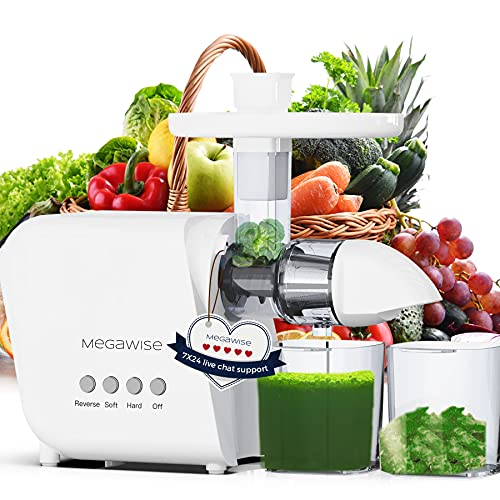 MegaWise Pro Slow Masticating Juicer, 95% Juice Yield & 9 Segment Spiral 2 Speed Modes Juicer Machines for Vegetables and Fruits, Cold Press Juicer Extractor with Reverse Function, Easy to Clean with Brush, BPA-Free