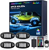 AMBOTHER RGB LED Rock Lights 60 LEDs Underglow Lights Waterproof Firmest APP RF Remote Music Mode Timing Setting Function for Truck, Car, Off Road, DC12-volt