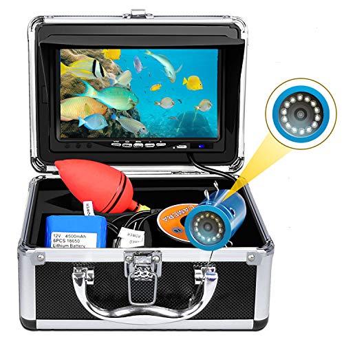 水中釣りカメラ魚群探知機ポータブルフィッシングギアホワイトライトLEDライトHD HD可視性カラーディスプレイ内蔵4500mAhバッテリー防水夜釣り水産養殖水中測定海/氷/湖釣り釣りツール15m DVRなし