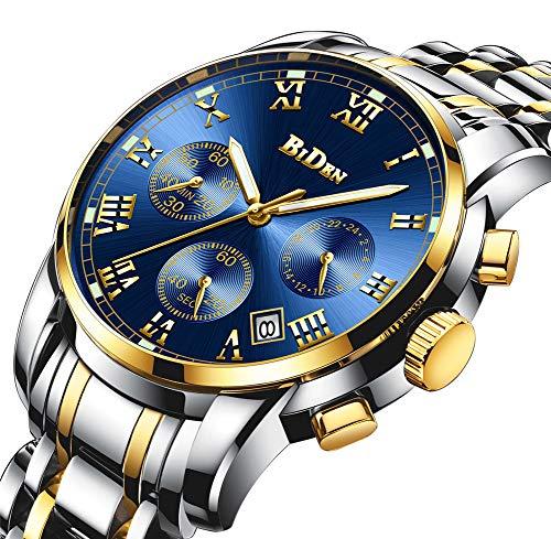 Biden Herrenuhren Edelstahlarmband Chronograph Analog Geschäfts Quarz Mann Armbanduhr Kalender Timer,Goldblue