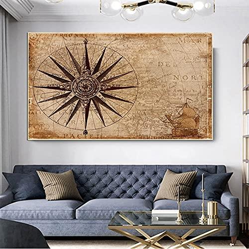 Mapa del mundo retro Navegación pirata Mapa de aventuras Brújula Lienzo Pintura Arte de la pared Póster Impresiones Dormitorio Sala de estar Oficina Estudio Decoración para el hogar Mural