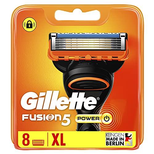 Gillette Fusion5 Power - Cuchillas de afeitar para hombre, 8 unidades, diseñadas con cuchillas antiirritación, hasta 20 afeitados por cuchilla
