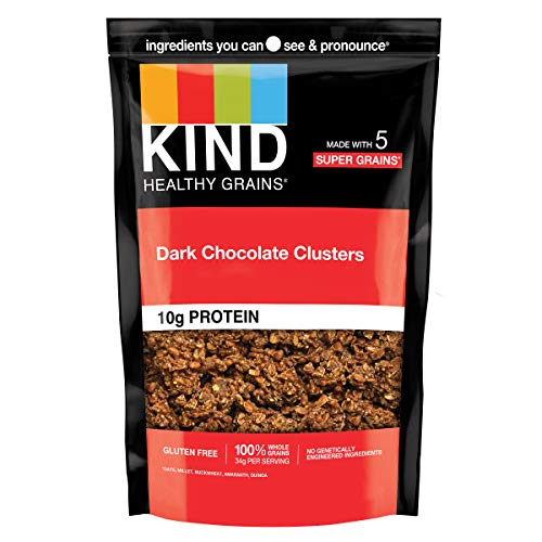 KIND Healthy Grains Clusters, Dark Chocolate Granola, 10g Protein, Gluten Free, Non GMO, 11 Ounce (Pack of 1)