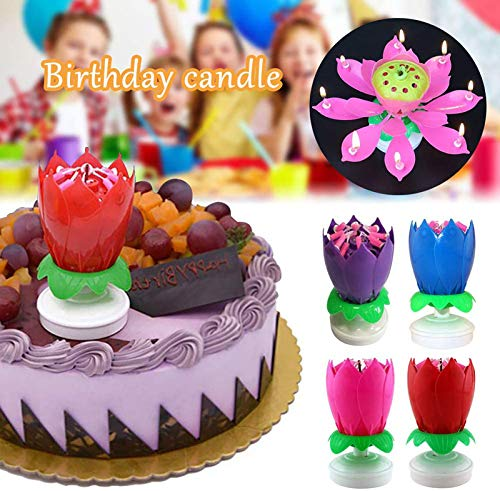 TOPYL Rotating Lotus Cạndlê Birthday Cake Flower Musical Music Cạndlê Whit Music Magic,Flower Rotating Happy Birthday Cạndlê,Random Color-3pcs