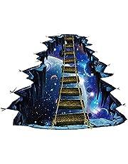 Acamptar muursticker voor Galaxy Star Bridge, groot, 3D, Cosmic Space Floor