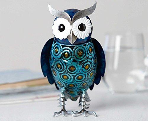 Hand Painted Owl Ornament Metal H20cm x W11cm x D12cm Birds Home Decor