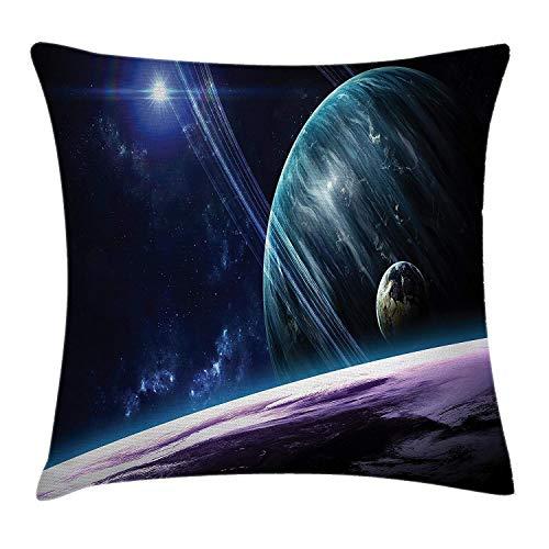 Funda de cojín Universo con planetas y efectos luminosos dinámicos Cuerpo celeste Funda de Almohada con Cremallera para Decoración del Hogar Sofá Coche Oficina 45x45cm