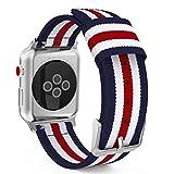 MoKo Bracelet pour Apple Watch Series 5/4/3/2/1 38mm, Bande Sportive de Remplacement en Nylon Tissé pour Tous Les modèles d'Apple Watch 38mm Series 5/4/3/2/1, Bleu & Blanc & Rouge