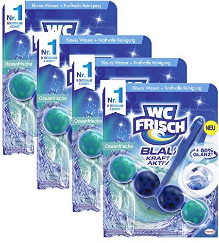WC FRISCH Kraft Aktiv Blauspüler Ozeanfrische, mit 50% mehr Glanz, 4 (4x1) Stück