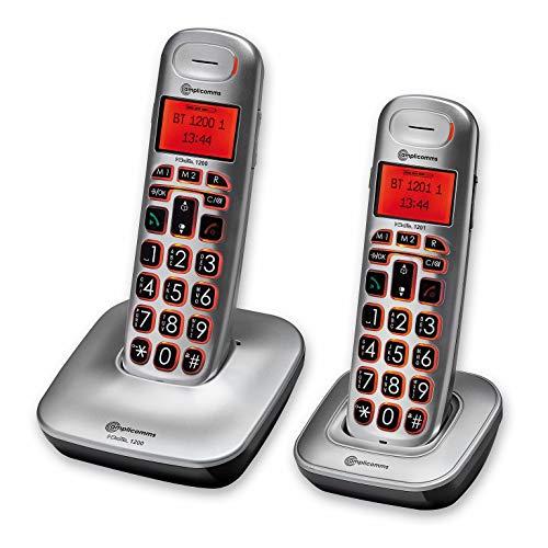 2 Telefoni Cordless DUO Amplificati per Anziani Suoneria Extra Forte 80 Db Volume Forte 30 Db con Pulsante Boost Vivavoce Compatibile Apparecchi Acustici, Tasti e Display grandi con Retroilluminazione