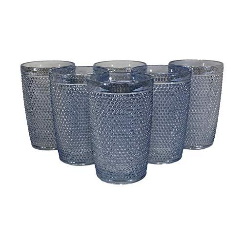 Homevibes Juego de 6 Vasos De Agua con Relieve, Set de 6 Vasos, Capacidad 350ml, Diseño Retro, Medidas 8x12.5, Cristaleria De Calidad (Cristal Blue)