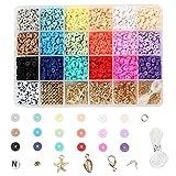 LIZHIOO Kit Perline di Semi, Perline di Plastica Rotonda Piatte 24 Griglie Fai da Te Kit Orecchino Collana Creativo Gioielli Creazione di Baracchetti Colorati Forma Mista Perline