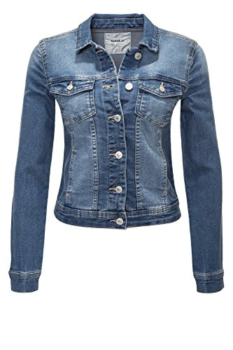 ONLY Damen Jeansjacke Übergangsjacke Leichte Jacke Denim Casual GE LESTA- Gr. L (40), Medium Blue Denim