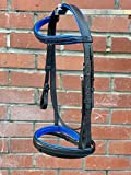 Countrypride PADDED COMFORT LEATHER BRIDLE DIAMANTE BROWBAND WITH SOFT REINS BLUE (Black, Pony)