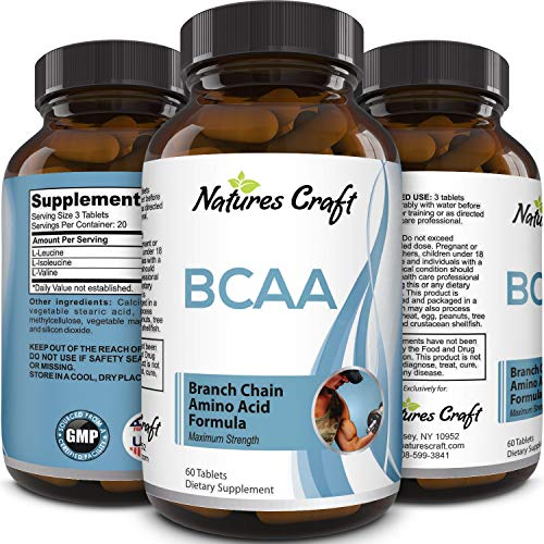 3000 mg Dosage BCAA Pills – Pure Lean Gains – Men + Women – Best Concentrated Muscle Repair – Build Muscles + Recovery – Essential Amino Acids Supplements - by Natures Craft