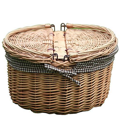 Molipat Vintage Wicker Big Picknickkorb, Snacks Stroh Picknickkorb, Hamper Küchenkorb, Vintage Obst Aufbewahrungskorb (40X30X20Cm)