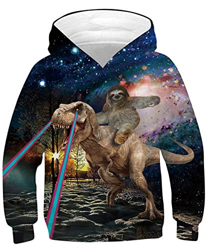 Goodstoworld Hoody Kinder 3D Druck Hoodie Mädchen Jungs Kapuzenpullover Langarm Sweatshirt Pullover Bunte Kapuzenpullis Freizeitkleidung 12-13 Jahre