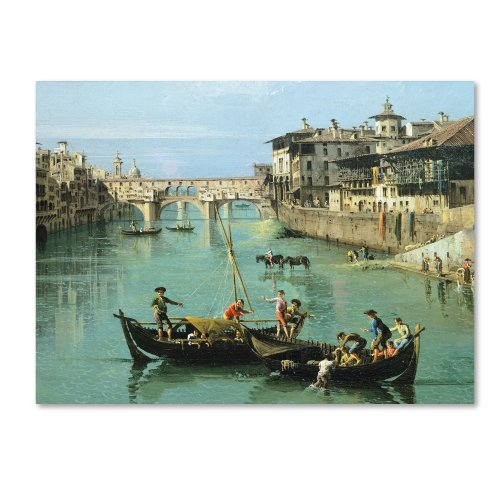 Arno River and Ponte Vecchio Artwork by Canaletto, 18 by 24-Inch Canvas Wall Art