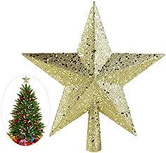JWAKSJ 1PCS New Cute 4.5 Inch Gold Powder Christmas Star Christmas Tree Toppers Christmas Tree Ornaments Xmas