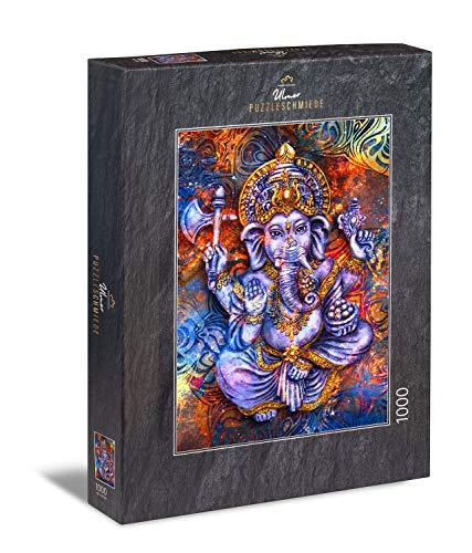Ulmer Puzzleschmiede - Puzzle 'Ganesha': Puzzle de 1000 piezas - El popular dios hindú como cuadro de colores