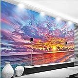 Clhhsy サンセットファイヤーバーンズ美しいテレビの背景壁カスタム大きな壁画緑のシルクの壁紙-150X120Cm