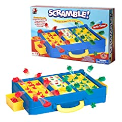 EXCITING SHAPE SORTING FAMILY GAME: Scramble is a classic shape matching race game to place the shapes in the proper spaces. When the time runs out, your board will pop up suddenly and shapes will get thrown in the air! Try to fill your board before ...