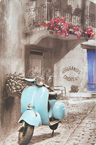 Cielo Azul Piaggio Vespa, Metal muestra de la lata, adorno de pared decoración de estilo Vintage, tamaño 20,32 cm X 30,48 cm