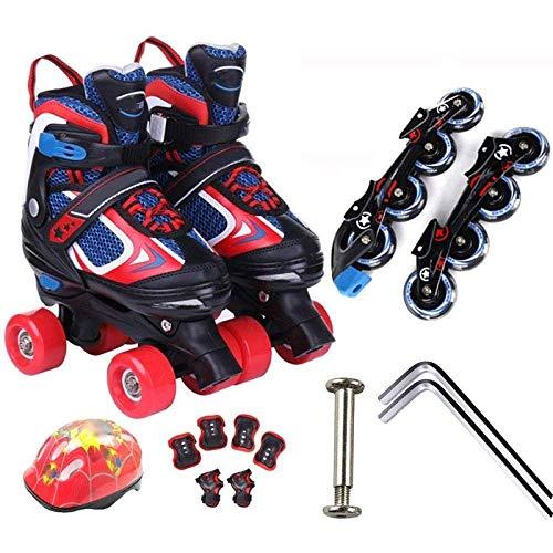 Taoke Roller Skates, Kinder zweireihig Inline-Skate, 2 in 1 Einstellbare Rollerblades for Anfänger Kleinkinder Kinder Jungen Mädchen Set, (Größe: 31-34) dongdong (Size : 3134)