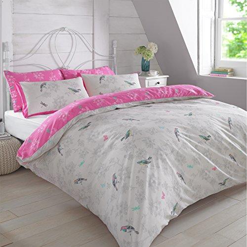 Dreamscene VINTBIRDLI02 Luxurious Vintage Birds Duvet Set with Pillowcase, Polyester/Cotton, Pink, Double