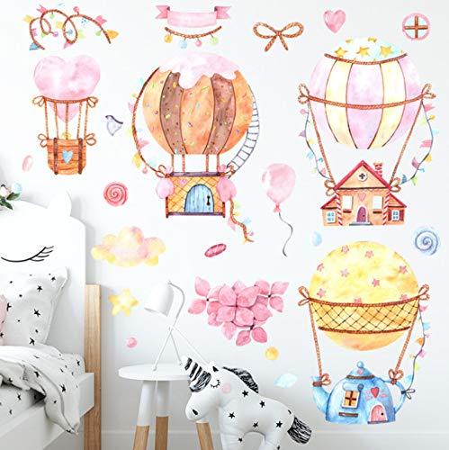 Globo de aire caliente pegatina de pared bonita decoración de habitaciones de niños calcomanías de vinilo para pared decoración del hogar pegatinas de dormitorio para niños papel tapiz de murales