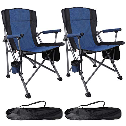 Boshen 2 Pack Outdoor Folding Camping Chairs Heavy Duty Picnic Fishing Beach Ergonomic Chair with Cup Holder & Storage Pocket, Carry Bag Included - Support 330Ibs, Blue