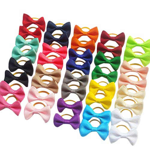 Chenkou Craft New 40pcs(20pairs) Dog Hair Bow Pure Ribbon with Rubber Band 40mm Pet Grooming Products Mix Colors Varies Patterns Pet Hair Bows (Pure Ribbon Rubber Bow)