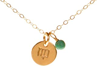 EFYTAL Virgo Necklace - Tiny Gold Filled Simple Zodiac Sign with Birth Month Charm, Zodiac Horoscope Pendant