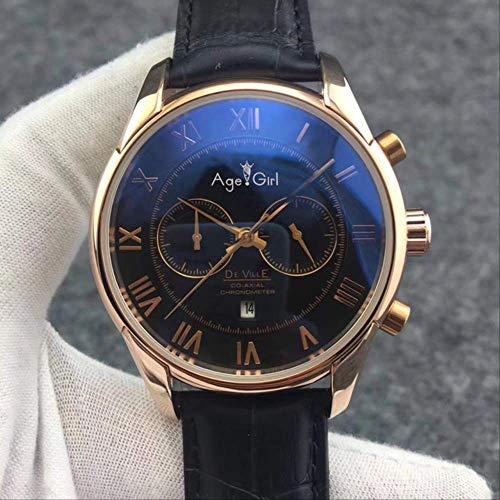 N-A Clásico Moda Hombres Reloj mecánico automático Oro Rosa Cuero Negro Azul Multifunción Calendario Zafiro Transparente RomaRoma Negro