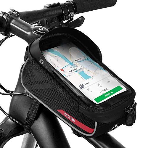Simpeak Bolsas de Bicicleta, Bolsa Bici Manillar y con Ventana para Pantalla Táctil y con Orificio para Auriculares para Teléfono Inteligente por Debajo de 6,5 Pulgadas