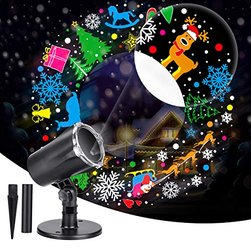 IIDEE Christmas Projector Light, 3D LED Outdoor Projector Waterproof Light with Rotating Snowflake for Xmas Party Festival