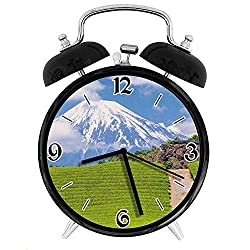 one-six-one Tea Fields of Japan Meadow View Tranquil SceneDesk Clock Home Office Unique Decorative Alarm Ring Clock 4in